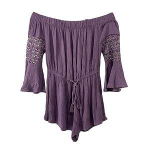 Blush Purple Off The Shoulder Bell Sleeve Romper M